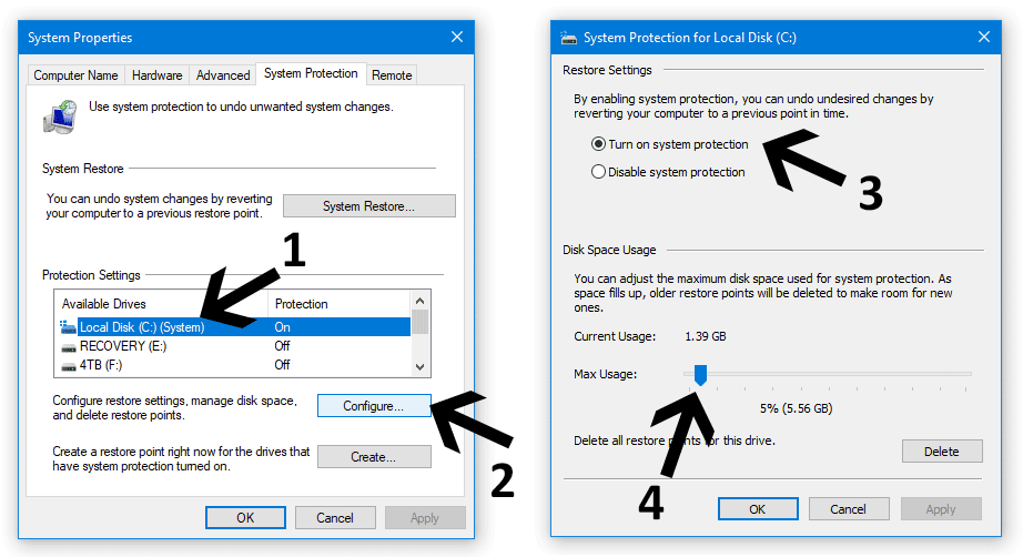 adjust system restore space windows 10